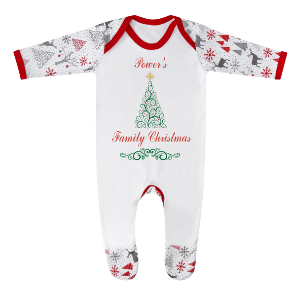 Personalised Family Name Christmas Baby Romper