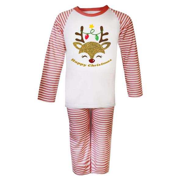 Reindeer Christmas Childs Pyjamas Set