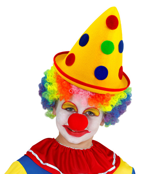 Yellow Cone Clown Hat