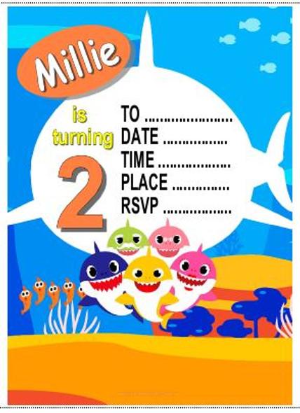 Baby Shark Personalised Invite