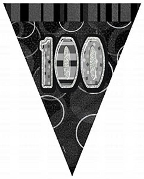 Black 100th Birthday Bunting
