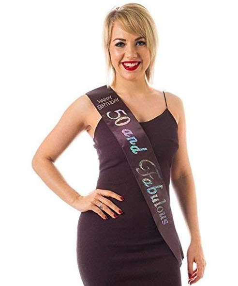 Black 50th Birthday Sash