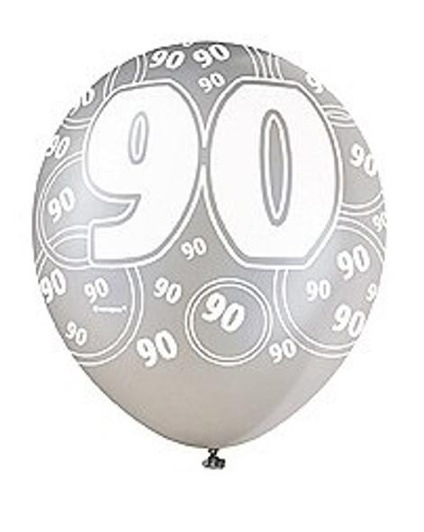 Black 90th Birthday Balloons