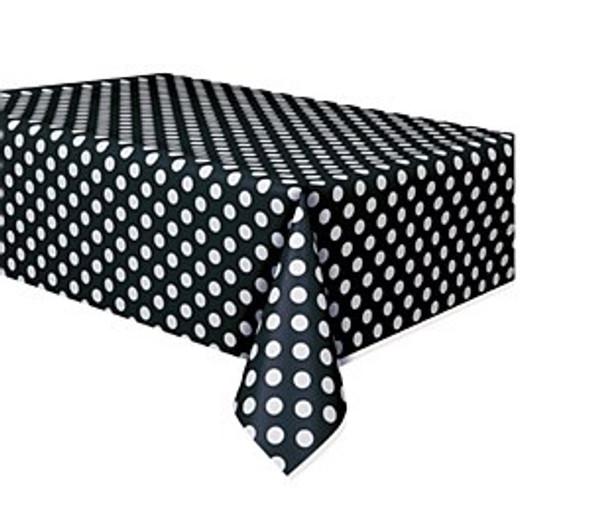 Black Dots Plastic Tablecover