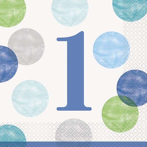 Blue 1st Dots Party Napkins