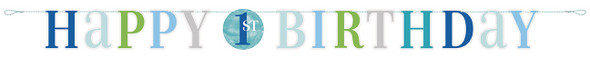 Blue 1st Dots Birthday Banner