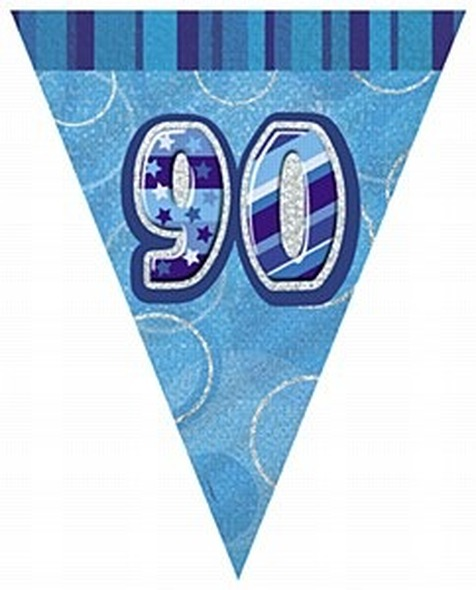Blue 90th Birthday Bunting