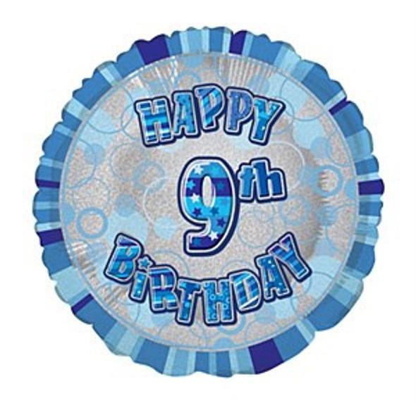 Blue 9th Birthday Balloon