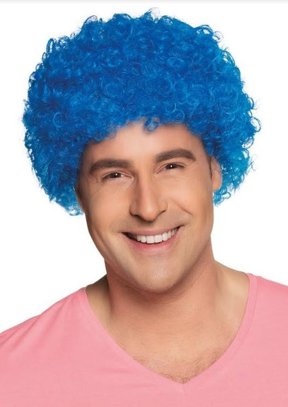 Blue Curly Clown Wig
