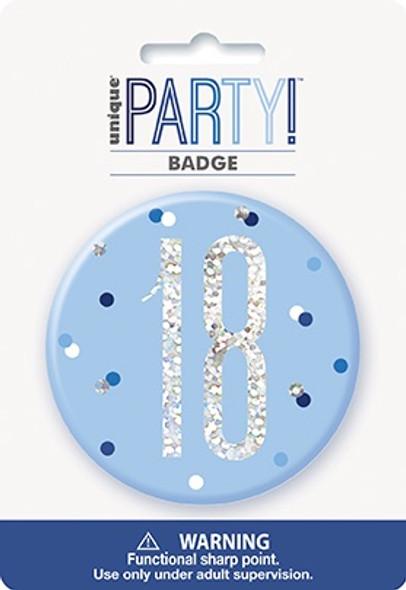 Blue Glitz 18th Badge