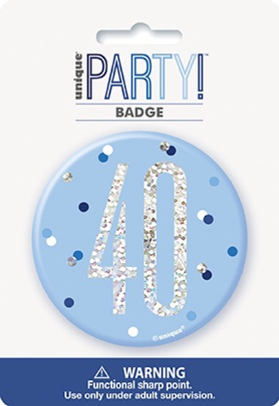 Blue Glitz 40th Badge