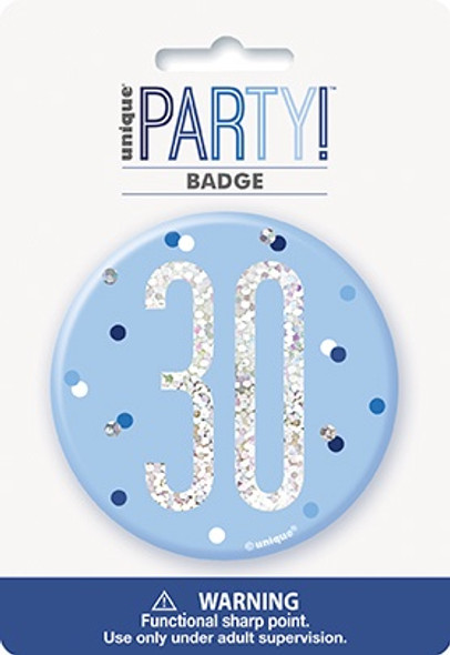 Blue Glitz 30th Badge