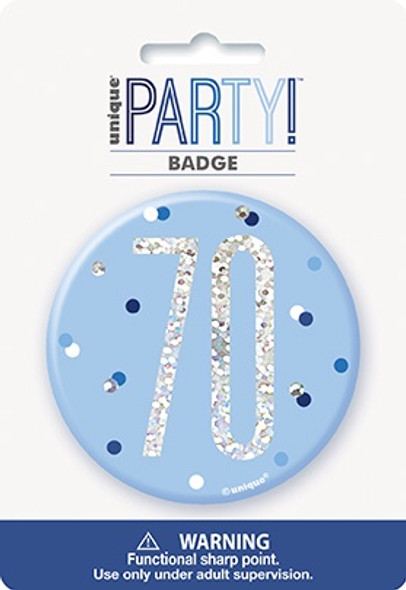 Blue Glitz 70th Badge
