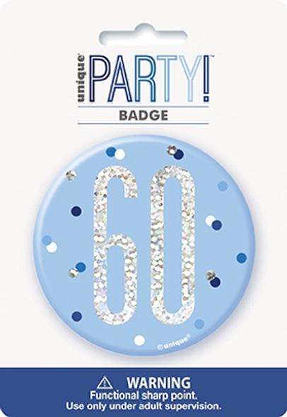 Blue Glitz 60th Badge