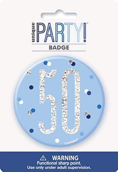 Blue Glitz 50th Badge