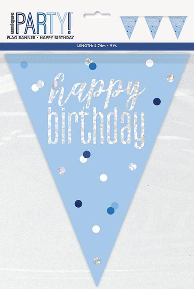 Blue Glitz Birthday Bunting