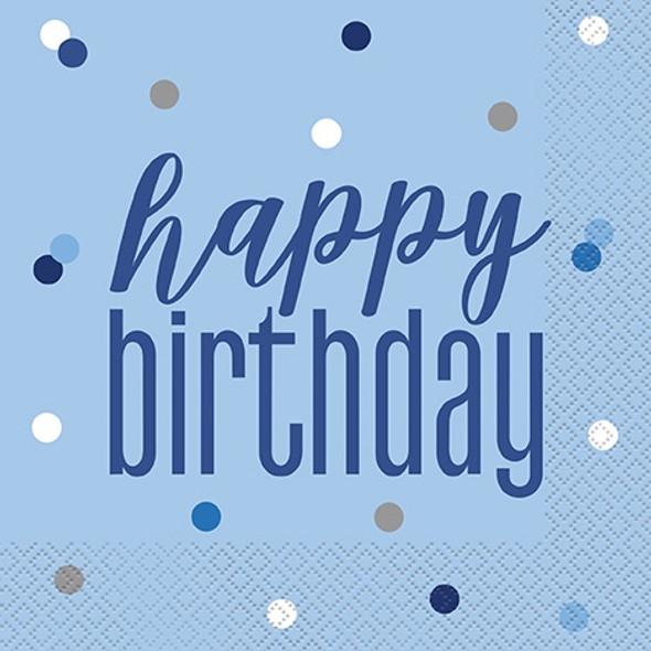Blue Glitz Birthday Napkins