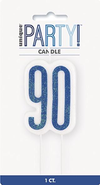 Blue Glitz 90th Candle