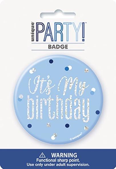 Blue Glitz Birthday Badge