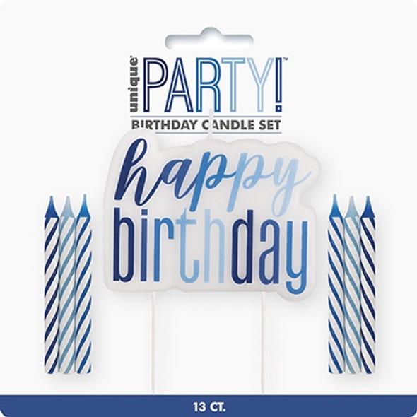 Blue Glitz Birthday Candle Set