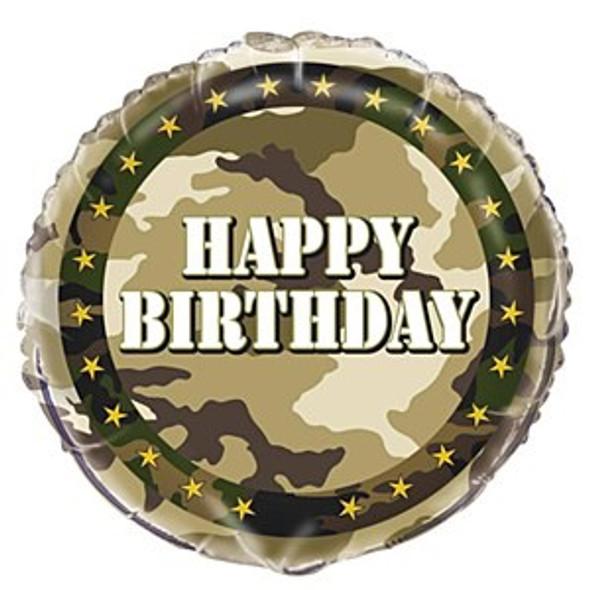 Camo Birthday Foil Balloon