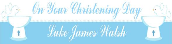 Christening Boy Banner