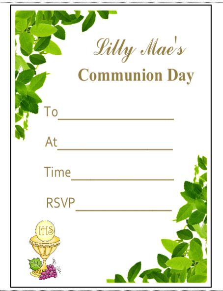 Personalised Communion Leaf Invitations