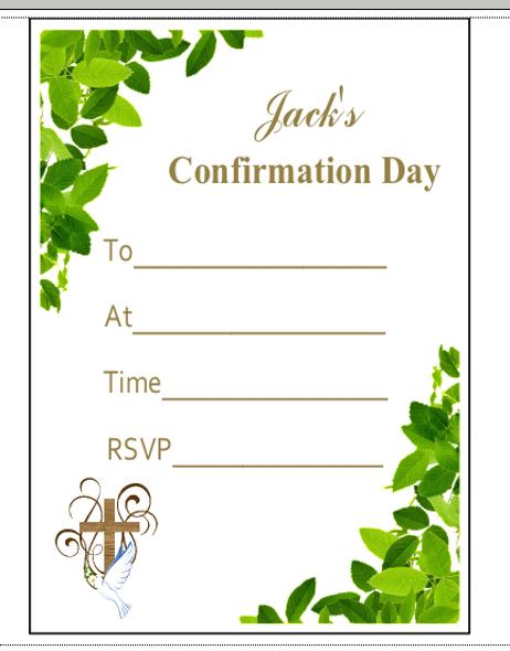Confirmation Leaf Invitations