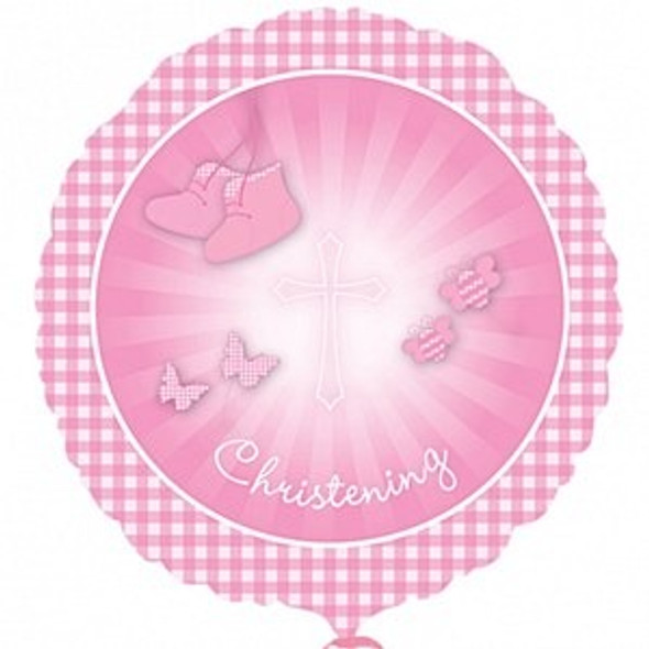 Pink Christening Foil Balloon