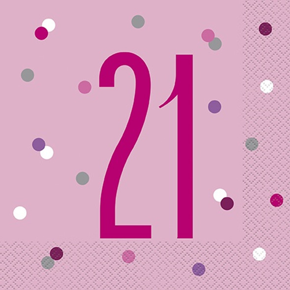 Pink Dot Glitz 21st Napkins