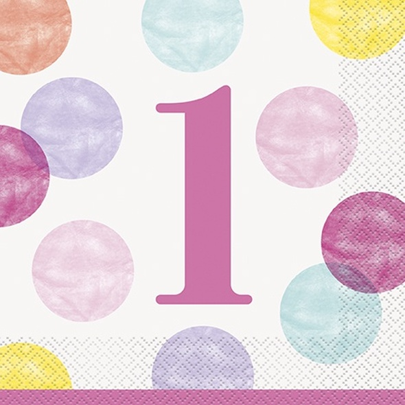 Pink Dots 1st Birthday Napkins