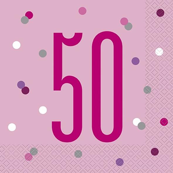 Pink Dot Glitz 50th Napkins