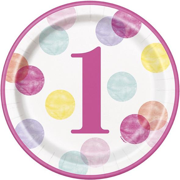 Pink Dots 1st Birthday Plates