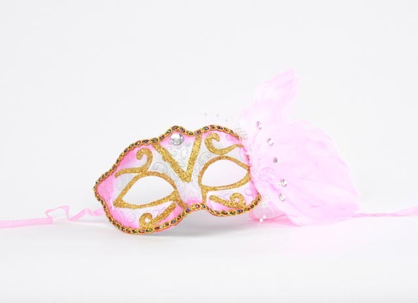Pink Feather Masquerade Mask