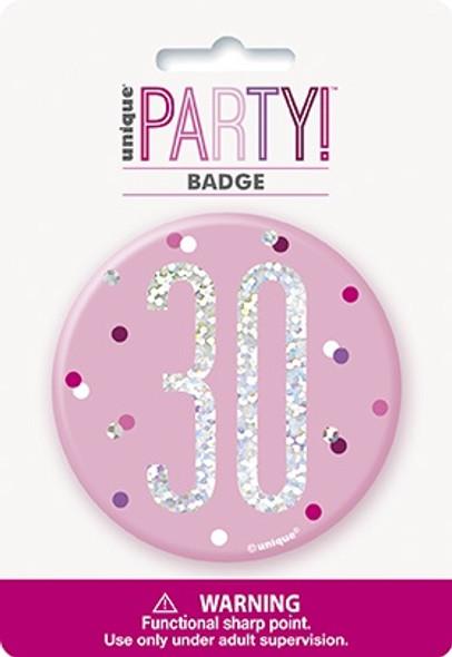 Pink Glitz 30th Badge