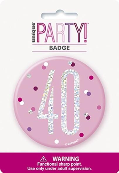Pink Glitz 40th Badge