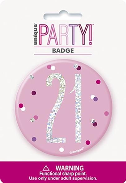 Pink Glitz 21st Badge