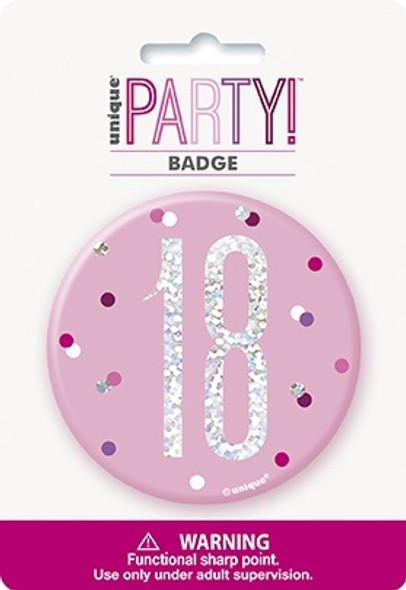 Pink Glitz 18th Badge