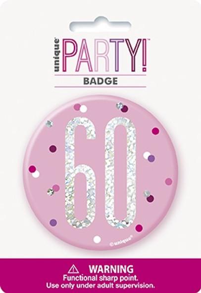 Pink Glitz 60th Badge