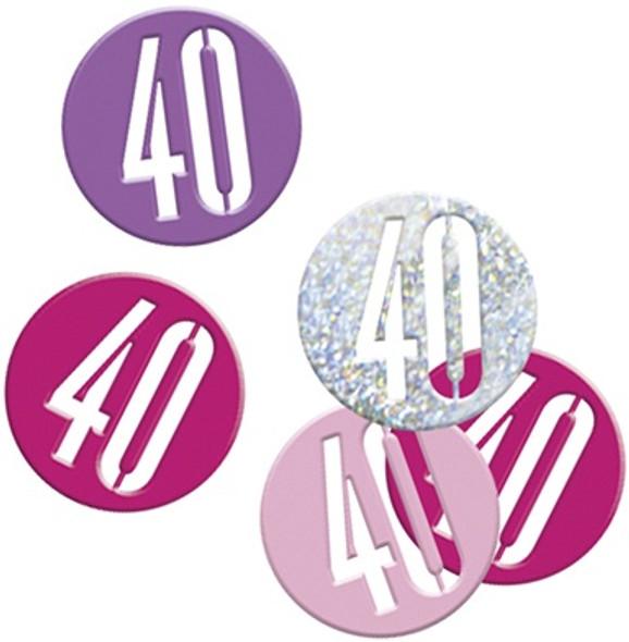 Pink Glitz 40th Confetti