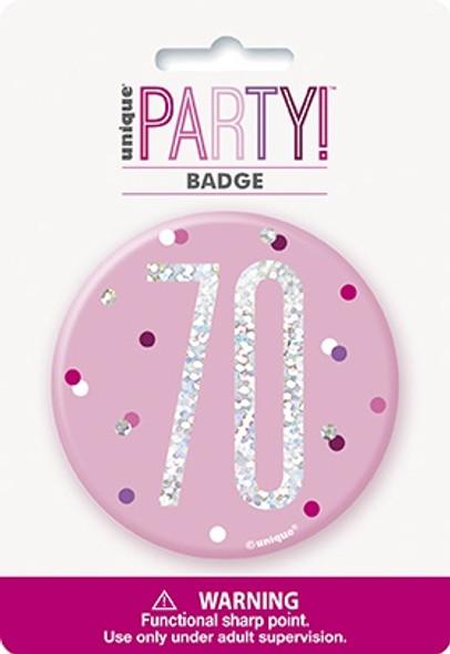 Pink Glitz 70th Badge