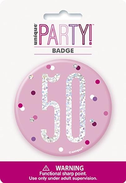 Pink Glitz 50th Badge