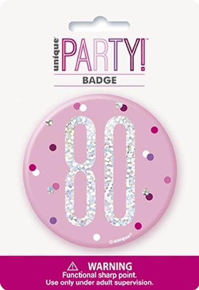 Pink Glitz 80th Badge
