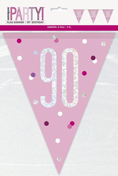 Pink Glitz 90th Bunting