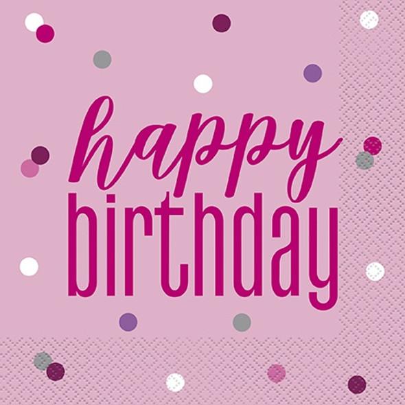 Pink Glitz Birthday Napkins