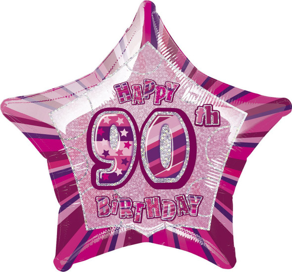 Pink Glitz 90th Balloon