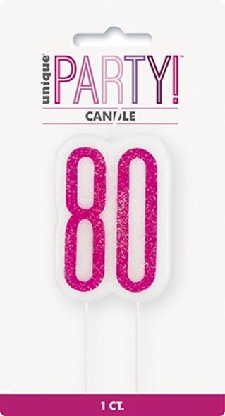 Pink Glitz 80th Candle