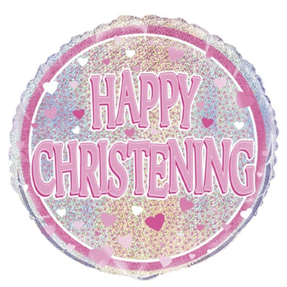 Pink Happy Christening Balloon