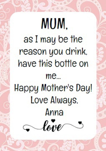 4PK Mothers Day Wine Labels