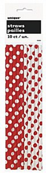 Red Dots Drinking Straws